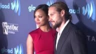 Zoe Saldana and Marco Perego at the 26th Annual GLAAD Media Awards at The Beverly Hilton Hotel on March 21 2015 in Beverly Hills California