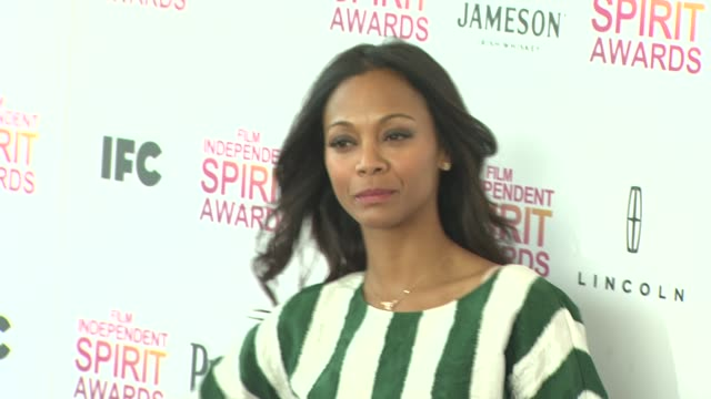 Zoe Saldana at the 2013 Film Independent Spirit Awards Arrivals on 2/23/13 in Santa Monica CA