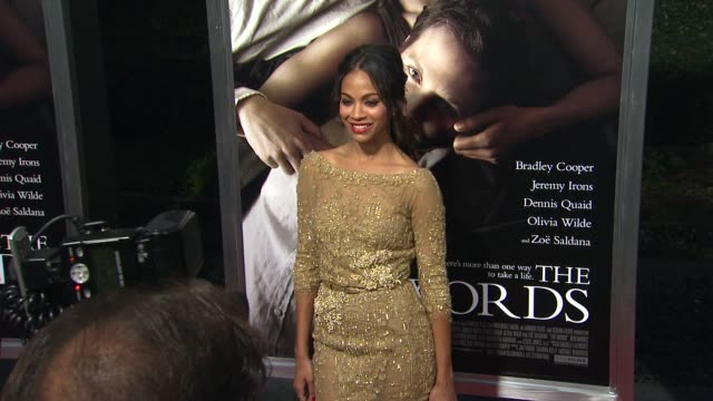 Zoe Saldana at The Words Los Angeles Premiere on 9/4/2012 in Hollywood CA