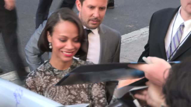 Zoe Saldana greets fans at the Guardians Of The Galaxy Premiere in Hollywood Celebrity Sightings on July 21 2014 in Los Angeles California