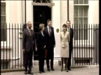 Zoom in as Gordon Brown Chancellor of the Exchequer and budget team come out of 11 Downing Street holding up red box at time of budget 17 Apr 02