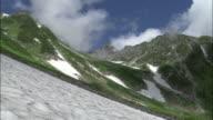 Zoom in from snowy gorge to peak of Mount Yarigatake, Nagano