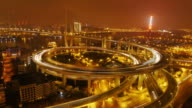 Zoom in, Nanpu Bridge, Huangpu River, night, traffic, city lights, Shanghai, China