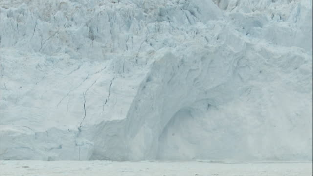 Zoom in on waves caused by Sermeq Kujalleq glacier calving into Ilulissat Icefjord, Greenland