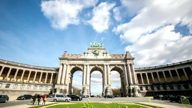 HD zoom in time-lapse: Triumphal Arch Cinquantenaire Parc Brussels Belgium