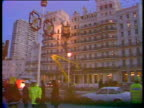 Zoom in to wrecked facade of hotel IRA bombing of Grand Hotel Brighton 12 Oct 84