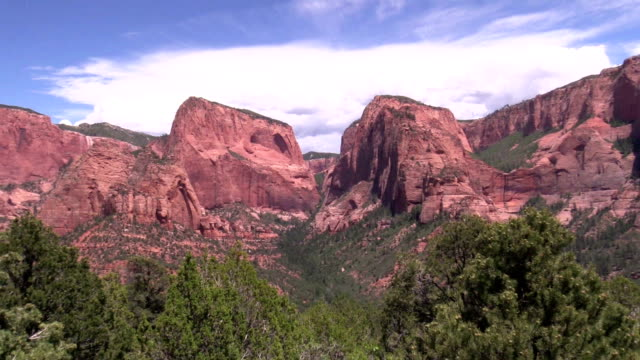zoom into hanging valley amid buttes and mesas of Kolob Canyon Utah