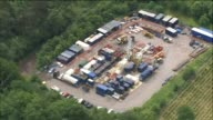 Zoom out aerial of Balcombe drilling rig