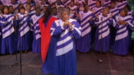 Zoom out and in to lead singer of gospel choir, Jackson, Mississippi Available in HD.
