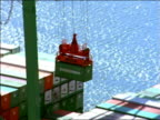 AERIAL zoom out crane lifting shipping container from freighter docked at port / Long Beach, California