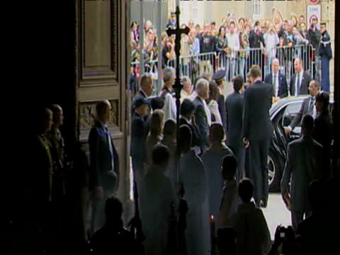 Zoom out from entrance of Bayeux Cathedral during 65th DDay remembrance service 6 June 2009