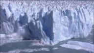 Zoom out from Perito Moreno Glacier calving into Lago Argentino, Patagonia