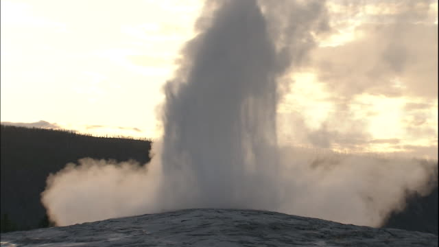 Zoom out from water and steam erupting from Old Faithful geyser at sunset, Yellowstone National Park, Wyoming