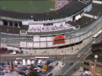 AERIAL zoom out of Wrigley Field / Chicago