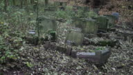 Zoom out shot of abandoned tombstones in Arnos Vale cemetery at autumn on November 1 2016 in Bristol England