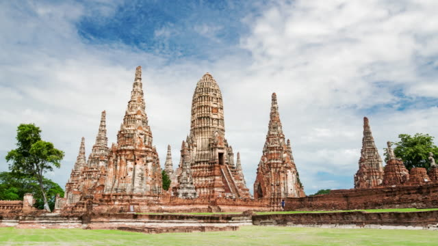 Zoom out shot of old temple wat chaiwatthanaram of Ayutthaya province