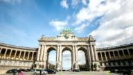 HD zoom out time-lapse: Triumphal Arch Cinquantenaire Parc Brussels Belgium