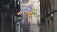Zoom Shot Catalonia independence flags views in old town Girona shot on Dec 13th 2013