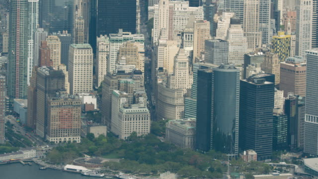 Zooming out shot of the Manhattan Financial District