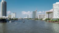 Zooming Time Lapse of river traffic over Chao Phraya river