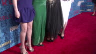 Zosia Mamet Jemima Kirke Lena Dunham Allison Williams posing for paparazzi on the red carpet at the School of Visual Arts