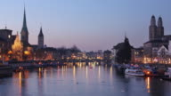 Zurich city towards Muensterbruecke twilight