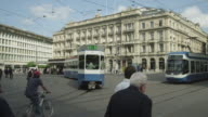 Zurich historic city center, Paradeplatz with trams
