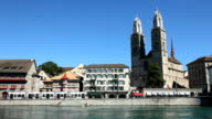 Zurich Limmatquai with the Grossmünster