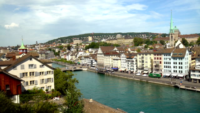 Zurich Skyline with River Limmat, Time Lapse