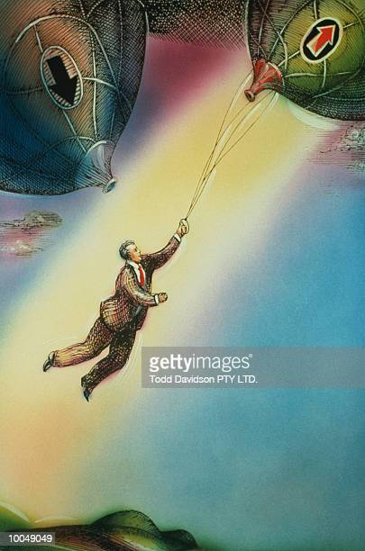 BUSINESSMAN RIDING ON RISING BALLOON