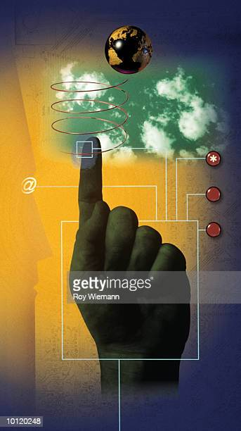 pointing hand - world at your fingertips stock illustrations