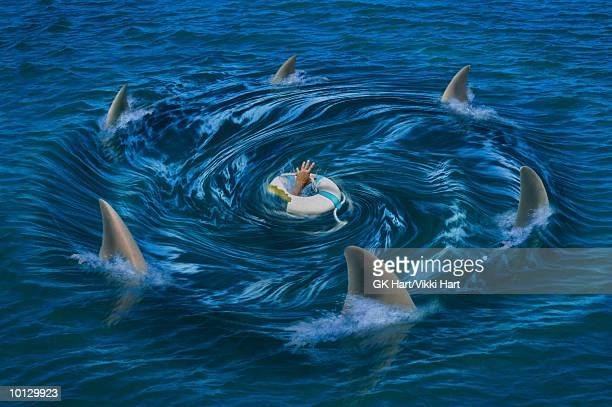 sharks circling life ring - floating on water stock illustrations