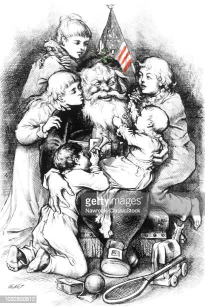 1880S THOMAS NAST LINE DRAWING OF CHILDREN AND SANTA CLAUS WITH RED WHITE AND BLUE AMERICAN FLAG