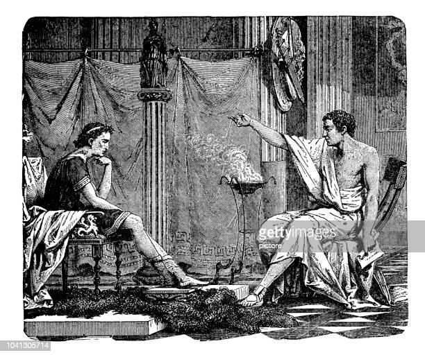 aristote (384-322 b.c) - greek culture stock illustrations
