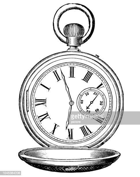 ilustraciones, imágenes clip art, dibujos animados e iconos de stock de antiguo reloj de 1884 (xxxl) - reloj de bolsillo