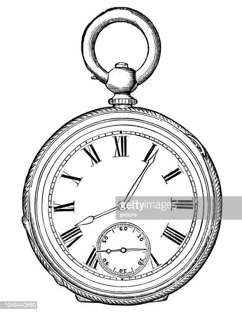 ilustraciones, imágenes clip art, dibujos animados e iconos de stock de antiguo reloj 1884 (xxxl) - reloj de bolsillo