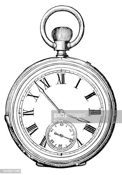 ilustraciones, imágenes clip art, dibujos animados e iconos de stock de reloj antiguo (xxxl) - reloj de bolsillo