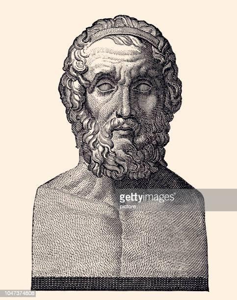 homer (xxxl) - greek statue stock illustrations