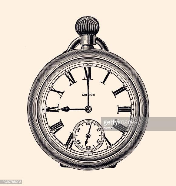 ilustraciones, imágenes clip art, dibujos animados e iconos de stock de reloj de bolsillo (xxxl) - reloj de bolsillo