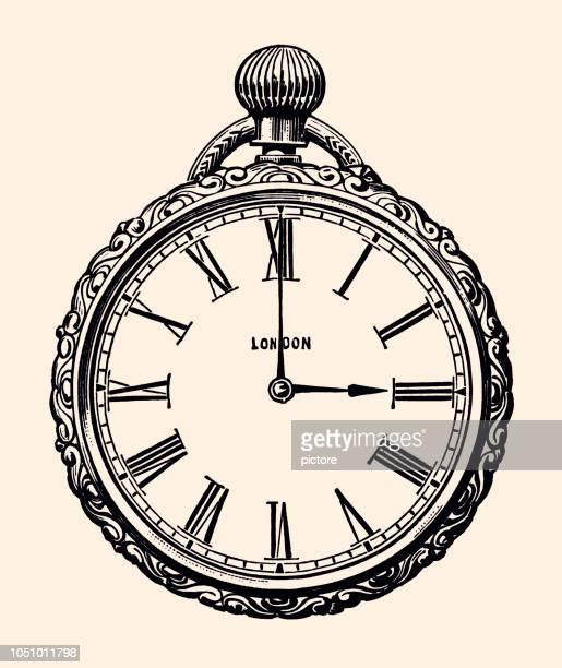 pocket watch (xxxl) - obsolete stock illustrations