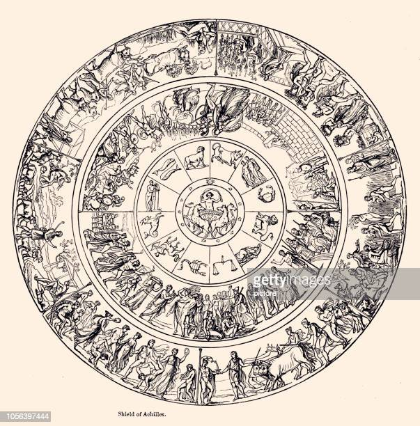 shield of achilles - ancient stock illustrations