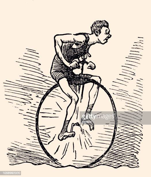 cycling (xxxl) - unicycle stock illustrations, clip art, cartoons, & icons