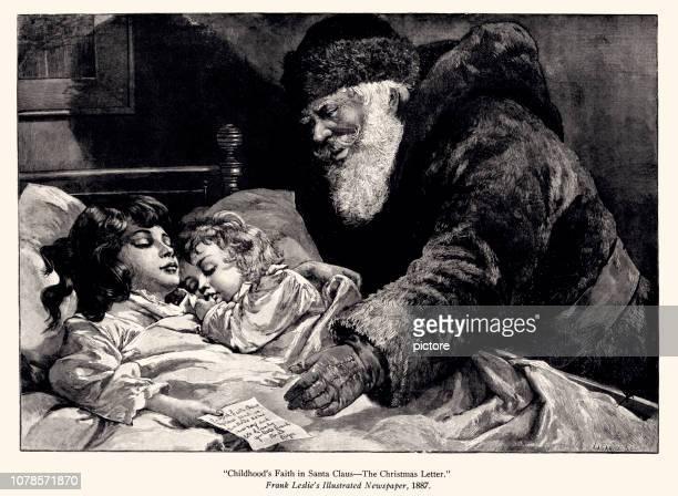 ilustrações, clipart, desenhos animados e ícones de papai noel e a carta de natal (xxxl) - 1887