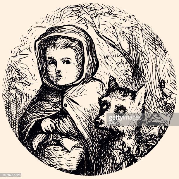 red riding hood (xxxl) - little red riding hood stock illustrations, clip art, cartoons, & icons