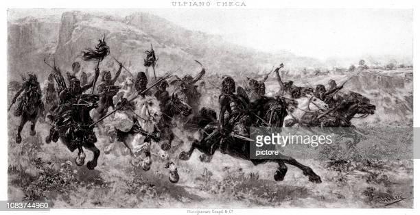 attila (xxxl) - cavalier cavalry stock illustrations, clip art, cartoons, & icons