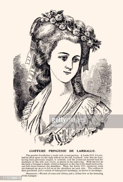 hairstyle:princess de lamballe hairstyle (xxxl) - princess stock illustrations