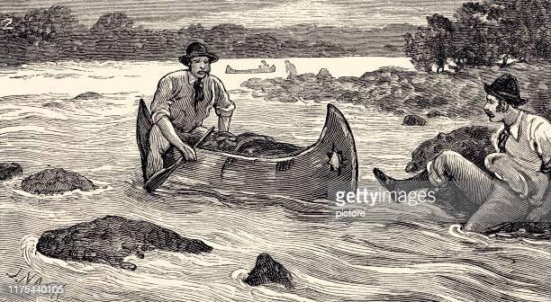 canoeing in nova scotia (xxxl) - humidity stock illustrations, clip art, cartoons, & icons