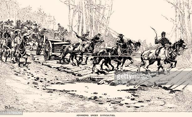american civil war:sherman's march from savannah to bentonville - savannah georgia stock illustrations, clip art, cartoons, & icons