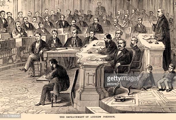 the impeachment of andrew johnson (xxxl) - history stock illustrations