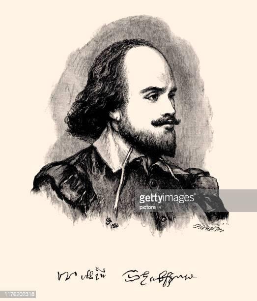 william shakespeare and his signature (xxxl) - poetry literature stock illustrations